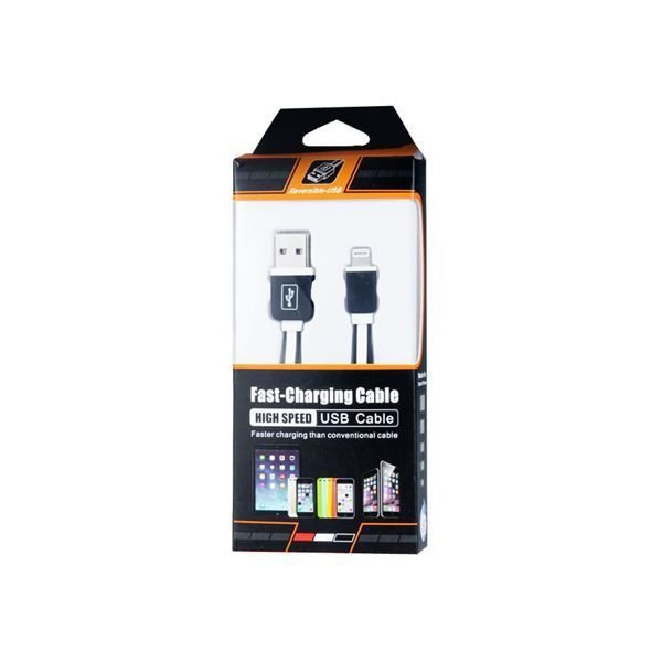 Generic 2582 8 pin Flat Fast Charging Data Cable for iPhone 6/6 Plus/5/5S/5C Black+White