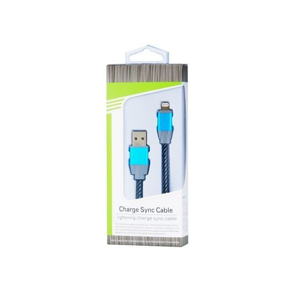 Generic 2588 8 pin Woven Round Charging Data Cable for iPhone 6/6 Plus/5/5S/5C Blue