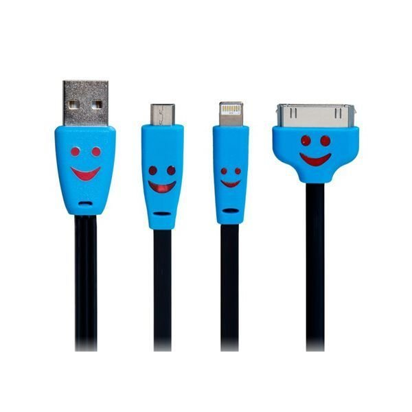 Generic 3 in 1 Smiley Face LED Flashing Flat Charging Data Cable for iPhone iPad Samsung Black