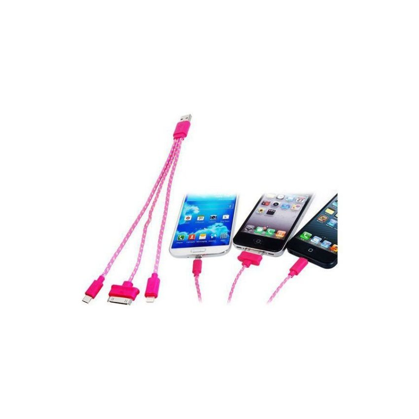 Generic 3 in 1 Woven USB Charging Data Cable for Samsung HTC iPhone (Pink)