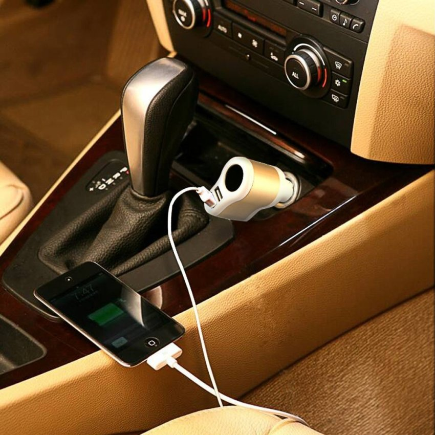 Generic Car Charger 3in1 with DC Port - Putih-Hitam