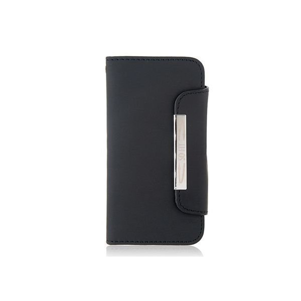 Generic Glossy Surface Design Synthetic Leather Protective Flip Case with Magnetic Snap for iPhone 5 Black
