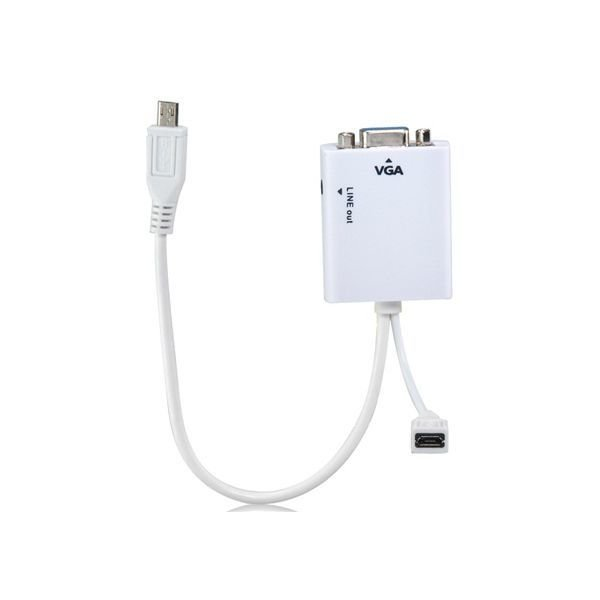 Generic Micro USB to VGA Audio MHL Adapter (White)