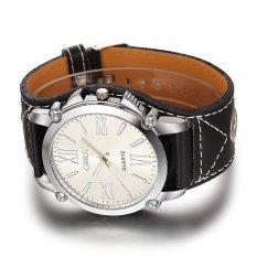 Geneva Platinum Watch PU Leather Wrist Watch Fashion Roman Dress Watch Women (White)