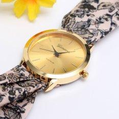 Geneva Women Floral Cloth Band Analog Quartz Wrist Watch (Intl)