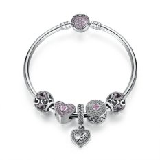 Genuine 925 Sterling Silver Beaded Bangle Charm Bracelets With Cut-out Hearts Silver Charms & Mom Dangles Mother's Gift (19cm)