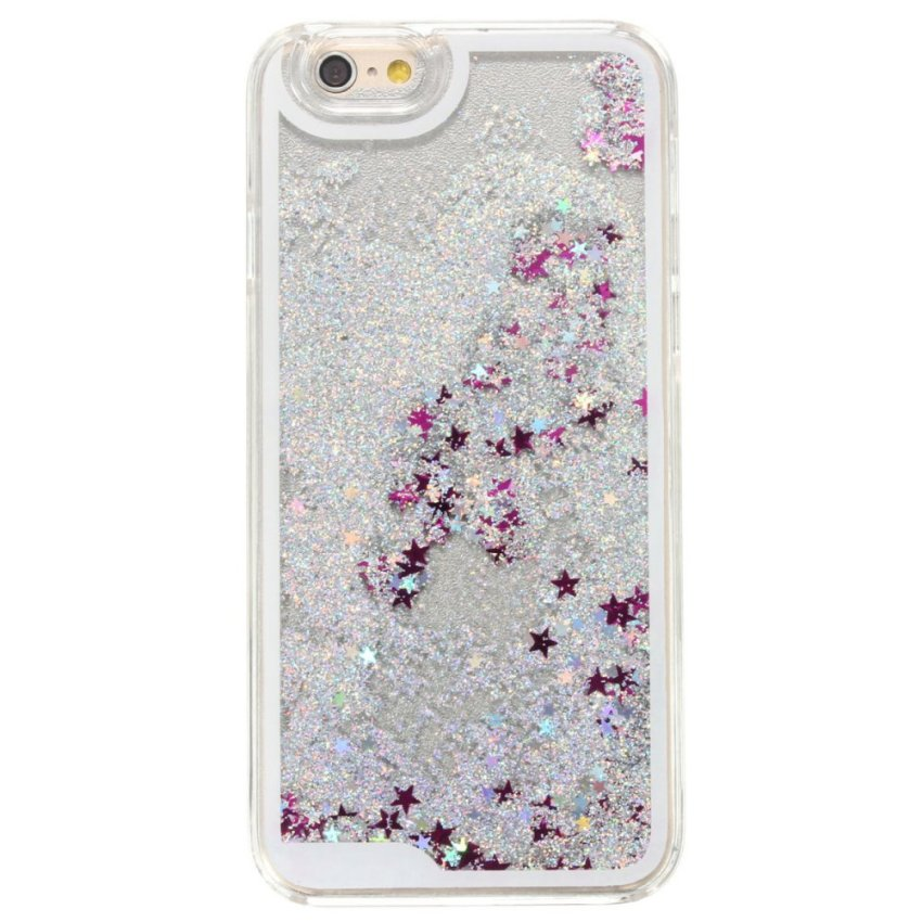 Glitter Bling Stars Colourful Liquid Novelty Case Cover Protector for iPhone 6/6S (Pink) (Intl)