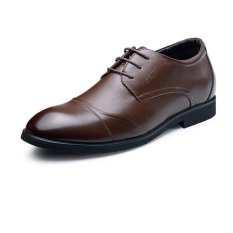GN65933 Genuine Leather Heightening Elevated Derbies Men's Formal Business Wedding Shoes Elevator 6cm (Brown)