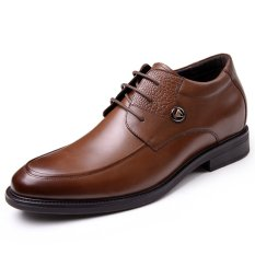 GN8590.2.36 Inches Taller-Genuine Leather Heightening Elevated Derby Shoes Formal Business Wedding Shoes (Brown)