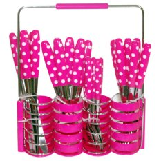Golden Cutlery Polkadot Set Peralatan Makan - 24 Buah - Pink