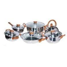 Golden Pan Stainless Steel Set Perangkat Masak - 12 Buah - Cokelat