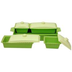 Golden Prasmanan Plastik Persegi - 4 Wadah - Hijau