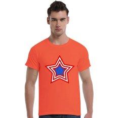 Grunge Patriotic Star Logo Cotton Soft Men Short T-Shirt (Orange) - Intl