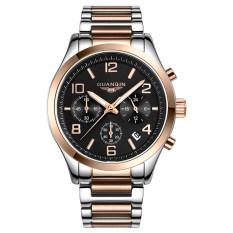 GUANQIN GS18001fs Quartz Men Steel Watch Calendar Chronograph Luminous (Gold Black)