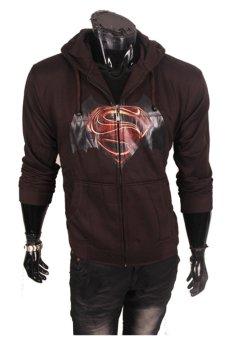 Gudang Fashion - Jaket Superman Batman dengan Hoodie - Coklat Tua
