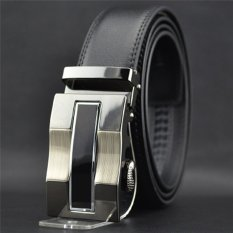 Hanyu Leather Belt With Alloy Automatic Buckle For Men Black Design 1- Intl