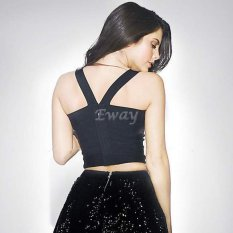 Happycat New Women Fashion Sleeveless VNeck Backless Sexy Slim Spaghetti Strap Elastic Crop Top (White) (S)