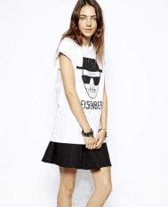 Happycat New Women's Summer Short Sleeve Casual Loose White Basic Sketch Print Tshirt Letter Heisenberg Shirt Blouse Tees (White) (S)