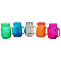 Harvest Set Mug Jar Tutup Warna - 450 Ml - 5 Pcs