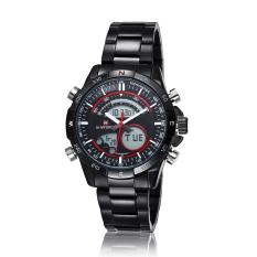 Hazyasm Brand Male Watch Men Strip Naviforce Fashion LED Dual Display Electronic Watches (Red)
