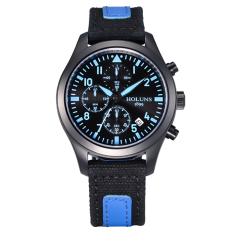 Hazyasm Genuine HOLUNS Watches Men Multi-functional Outdoor Sports Chronograph Watch Special Military Form Luminous Waterproof Male Table (Blue)