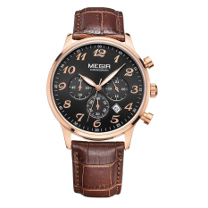 Hazyasm MEGIR Male Watch Three Men Watch Quartz Watch Sports Watch Waterproof Luminous Watches 2022G (Black)