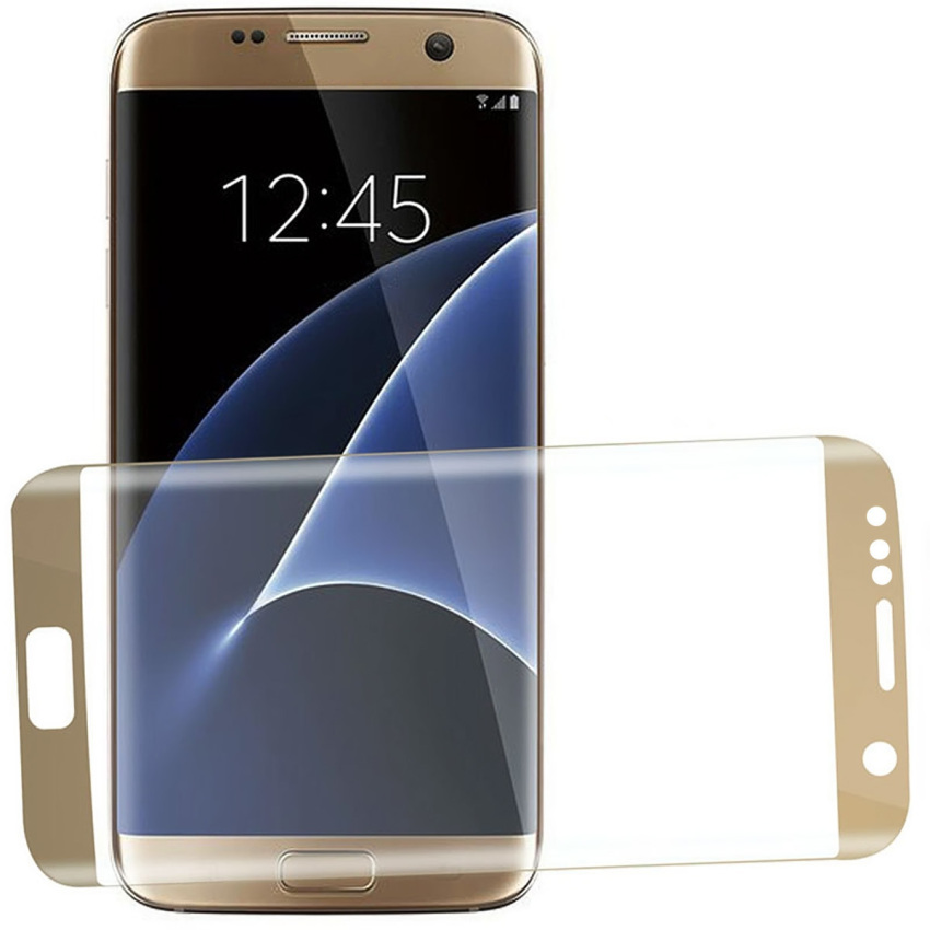 HD Clear Tempered Glass Full Screen Cover Protector Film for Samsung Galaxy S7 Edge 5.5 Inch (Golden) (Intl)