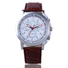 HDL Luxury Sport Military Quartz Dial Clock Men Wrist Watch Round Case Brown Leather - Intl