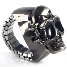 HDL Pary Jewelry Skull Punk Gothic Finger Ring Watch Quartz Watch Finger Decoration - Intl