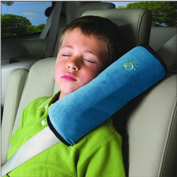 Headrest Support Pillow Pink Children Car Soft Seat Belt Shoulder Pad Pillow (Blue) (Intl)