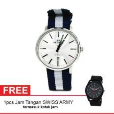 Hegner Lady Watch Jam Tangan Wanita - Silver - Strap Kanvas - 389 + Gratis Jam Tangan Swiss Army (One Size)