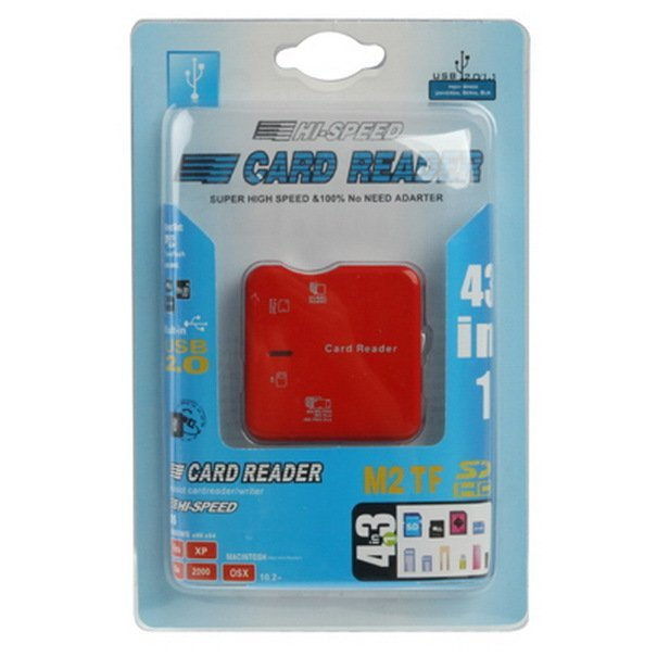 Hi-Speed Card Reader, Built in USB 2.0 Interface (Support SD / MC / RS / TF / M2 / MS Pro / MS Pro Duo Card Reader), Red