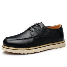 High Quality Casual Men Genuine Leather Shoes Height Increasing Work Shoes (Black) (Intl)