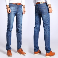 High Quality Retro Mens Denim Jeans Cotton Skinny Jean Pants Four Seasons Straight Slim Fit Blue Men's Famous Trousers Plus Size Without Belt