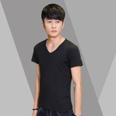 High Quality Tshirt V-Neck Tee Solid T Shirt Fashion Tops Casual Short Sleeve Men's T-shirt(Black) (INTL)