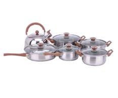Hiro Cookwarre Set - 5 set Panci Stainless + 1 set Teko Stainless silver