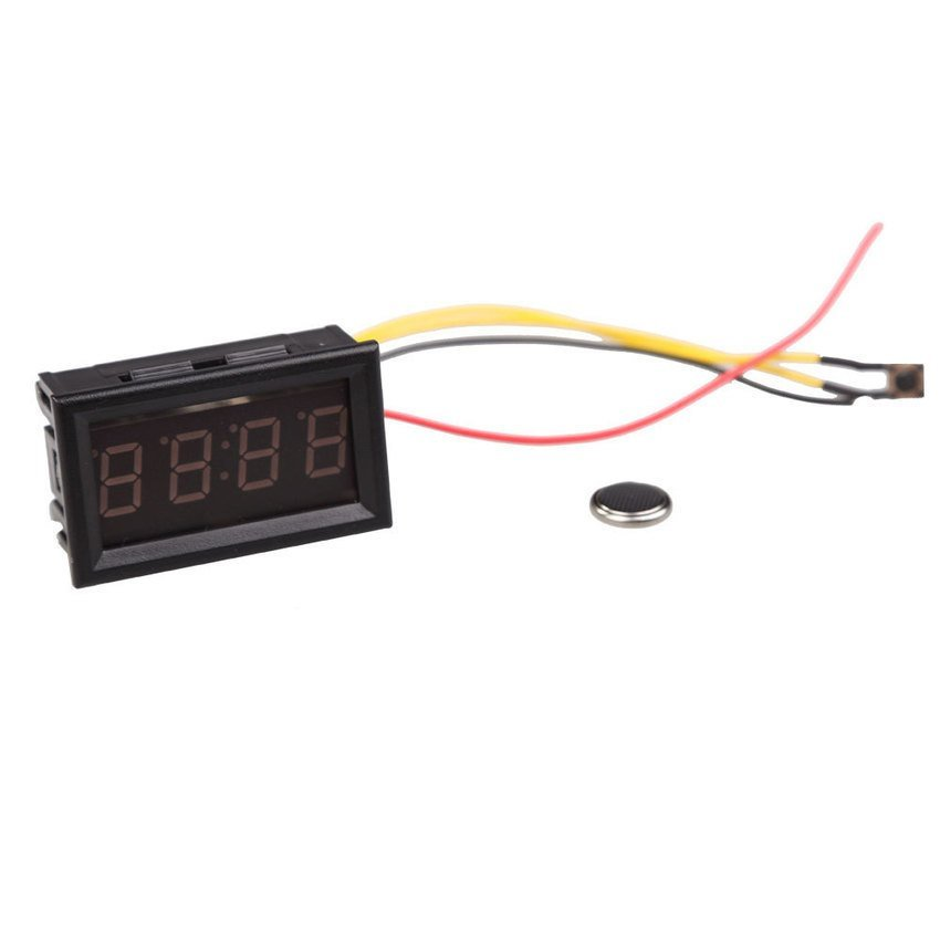 HKS 4 Digit 0.4inch Blue LED Digital Electronic Clock for Car Motorcycle Motor (Intl)