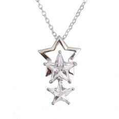 HKS Bling Star Pentacle Crystal Necklace Woman Pendant Chain Jewelry Silver