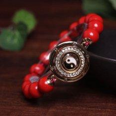 HKS Genuine Opening Transport Natural Cinnabar Beads Bracelet Male Couple Female Heart Handling String Benming Buddha Buddha Head - Cinnabar Lap Bracelet With Gossip - Intl