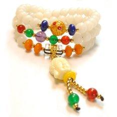 HKS Natural White Jade Buddha Buddha Head Bracelet Agate Beads Male And Female Lap Rosary Bracelets Jewelry National Wind - Intl