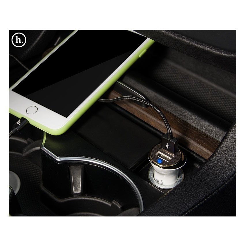 Hoco UC202 Dual USB Car Charger 2.4A for Smartphone - Black/Gray