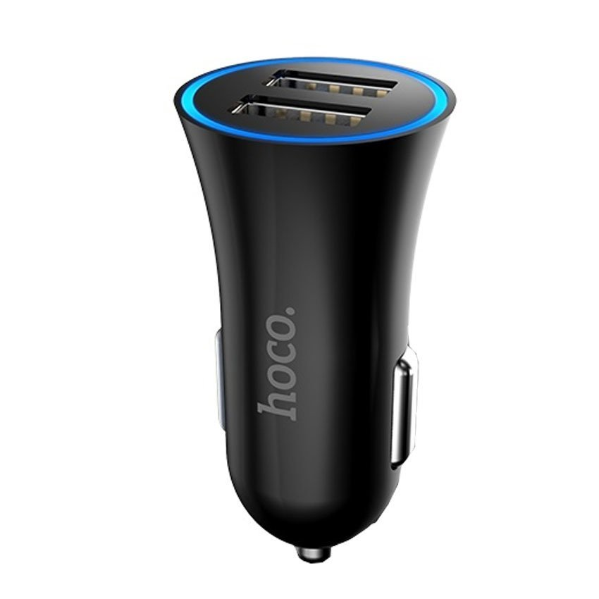 Hoco UC204 Dual USB Car Charger 2.4A for Smartphone - Hitam