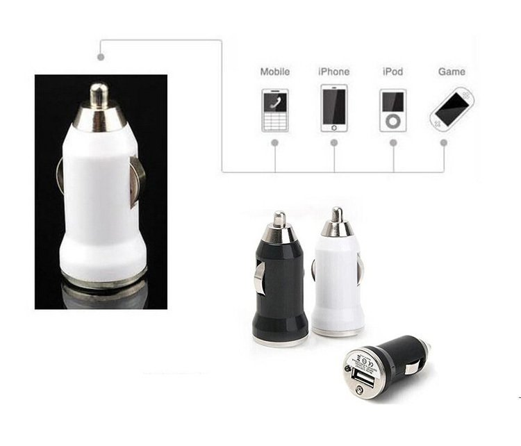 Hot Sale USB Bullet Car Charger Adapter for Phone Tablets (White) (Intl)