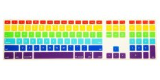 HRH Full Size Keyboard Cover Skin Protector For Apple Keyboard With Numeric Keypad Wired USB For IMac G6 Desktop PC Wired Keyboard (Rainbow) - Intl