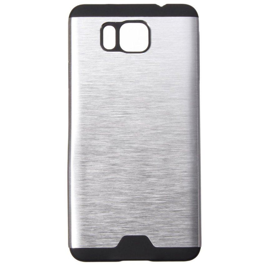 Hybrid Brushed Metal Aluminum TPU Hard Cover Case for Samsung Galaxy Alpha G850 (Silver) (Intl)