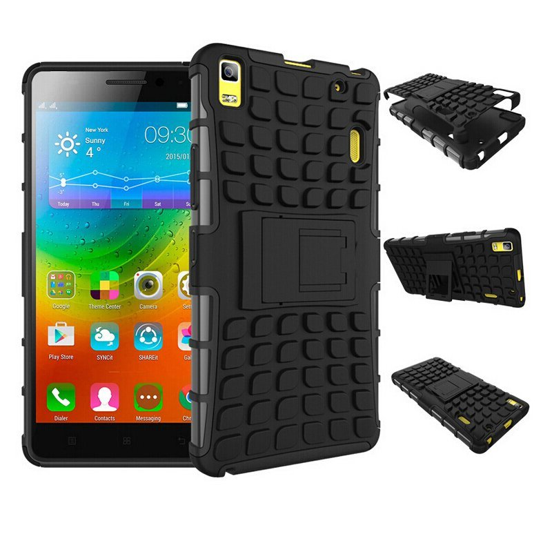 Hybrid Kickstand Rugged Rubber Armor Hard Cover Cases For Lenovo A7000 (Black)