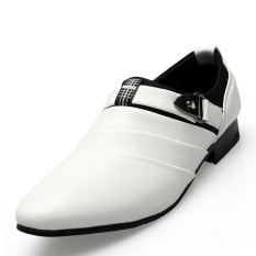 ILife New Men Oxfords Shoes White PU Leather Oxfords Shoes For Men Dress Flats Shoes Fashion Wedding Shoes White