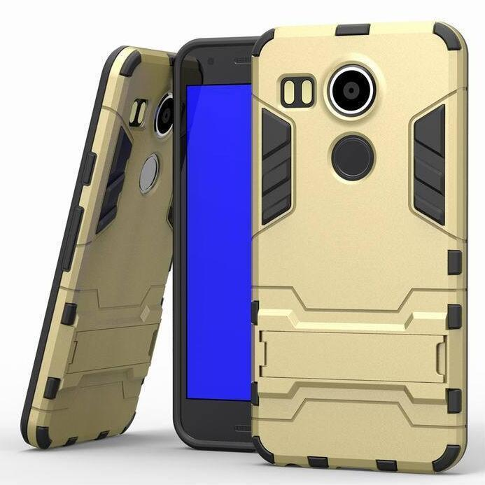 Iron Man Hard Armor Case With Stand Holder LG Nexus 5X Angler H79 Google Nexus 8 Back Cover for LG Google Nexus 5x 5.2'' inch (Gold) (Intl)