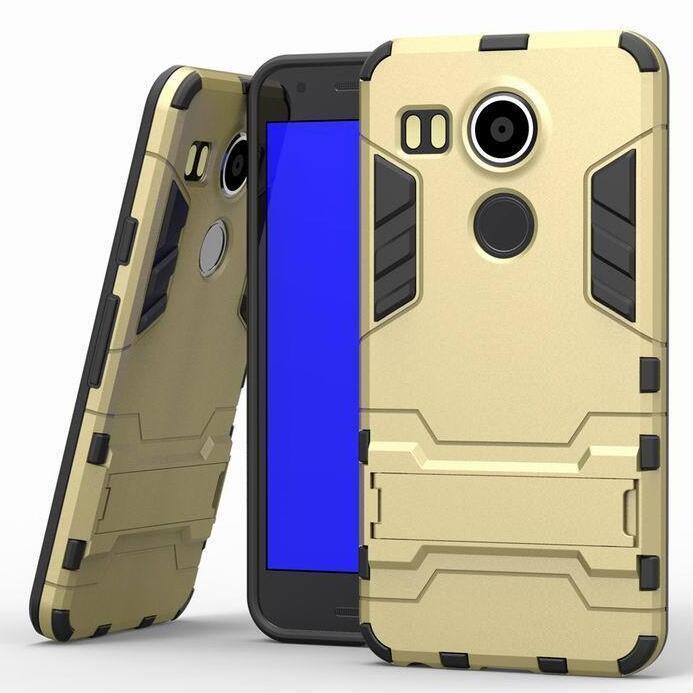 Iron Man Hard Armor Case With Stand Holder LG Nexus 5X Angler H79 Google Nexus 8 Back Cover for LG Google Nexus 5x 5.2'' inch (Gold) (Intl)