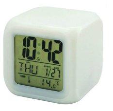 Jam Moody Digital Clock / Jam Weker Kotak / Hiasan Lampu Meja 7 Warna - Putih